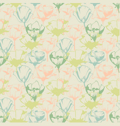Retro soft floral seamless pattern vector