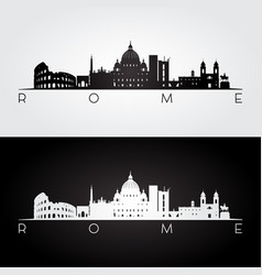 Rome skyline and landmarks silhouette vector