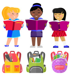 School stuents or pupils with books and schoolbags vector