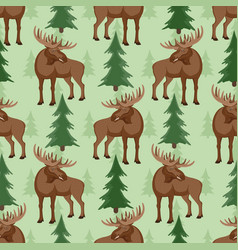 seamless pattern with moose and trees vector image