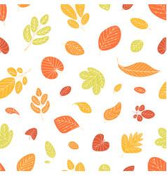 Seasonal seamless pattern with fallen autumn vector