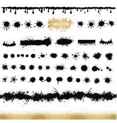Set black and white ink splash blots and brush vector