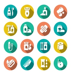 Set flat icons of hygiene vector image