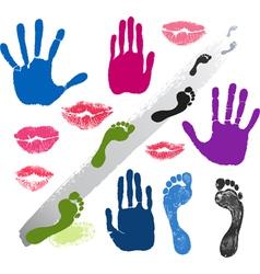 Set hands lips foots footsteps prints vector