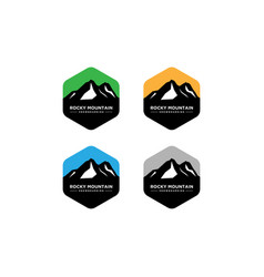 Set mountain and outdoor adventures logo vector
