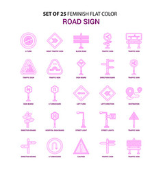 set of 25 feminish road sign flat color pink icon vector image