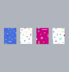 set of 4 placard with trendy geometric design vector image