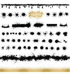 set of black and white ink splash blots and brush vector image