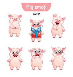 Set of cute pig characters set 2 vector