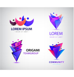 set of origami 3d men men logos family vector image
