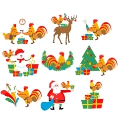 set of the cock new year christmas vector image