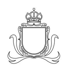 Shield crown decoration royal heraldic ornament vector