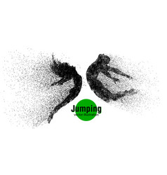 Silhouette of a jumping man and girl from vector