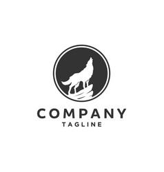 Silhouette wolf logo vector
