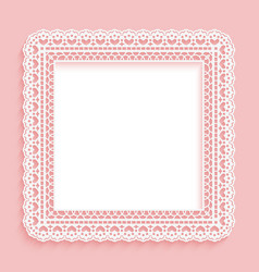 square frame with paper lace lacy pink with white vector image