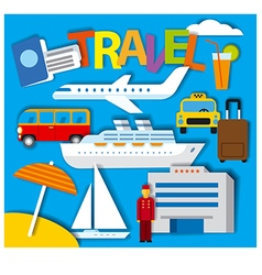 Stickers for travel concept vector
