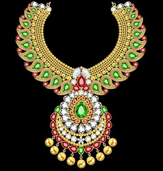 stock gold indian wedding necklace with precious vector image
