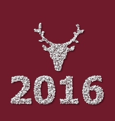 Symbol Xmas Deer head red backdrop made from white vector image