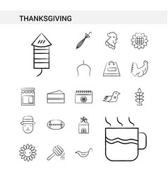 thanksgiving hand drawn icon set style isolated vector image