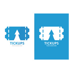 ticket and arrow up logo combination vector image