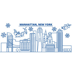 Usa new york manhattan winter city skyline vector