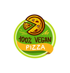 vegan pizza and food logo menu vector image