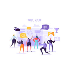 Virtual reality concept flat people characters vector