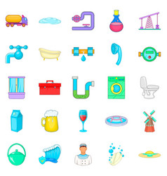 Wash the apartment icons set cartoon style vector