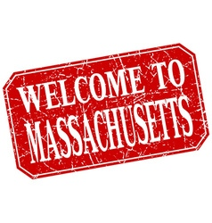 Welcome to Massachusetts red square grunge stamp vector