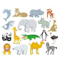 wild animals and sea creatures set vector image