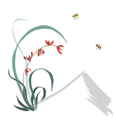 Wild orchid sumi-e chinese painting gohua vector