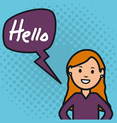 Woman and speech bubble with hello message vector