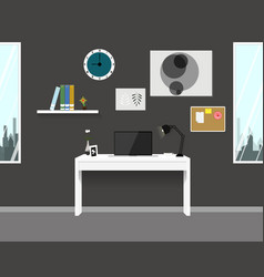 workspace interior home modern design vector image