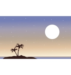 At night islands landscape of silhouette vector image vector image
