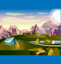 camping in the mountains vector image vector image