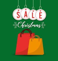 christmas sale balls and gift bag shop commerce vector image