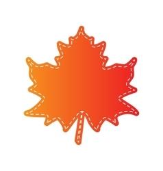 Maple leaf sign Orange applique isolated vector image