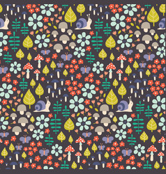 seamless cute seasonal pattern with fores vector image