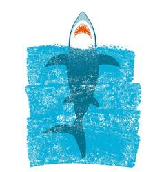 shark in ocean blue waves background vector image vector image