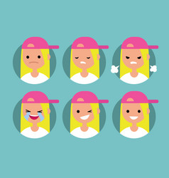 young blonde girl wearing pink cap profile pics vector image vector image