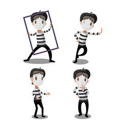 mime artist funny cartoon character vector image vector image