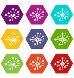 round bacteria icon set color hexahedron vector image vector image