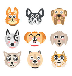 set of funny cartoon dogs heads dogs of different vector image vector image