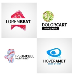 Set of modern colorful abstract music cell logo vector image