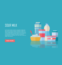 traditional dairy products from sour milk vector image