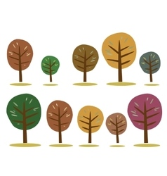 Autumn trees icons isolated on white vector image