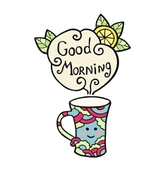 Card with smiley cup of tea and text Good Morning vector image
