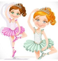 Cute little ballerina girl in pink and green tutu vector image