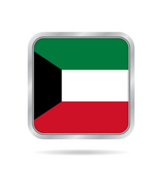 Flag of kuwait shiny metallic gray square button vector