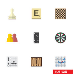 flat icon games set of sea fight chess table vector image vector image